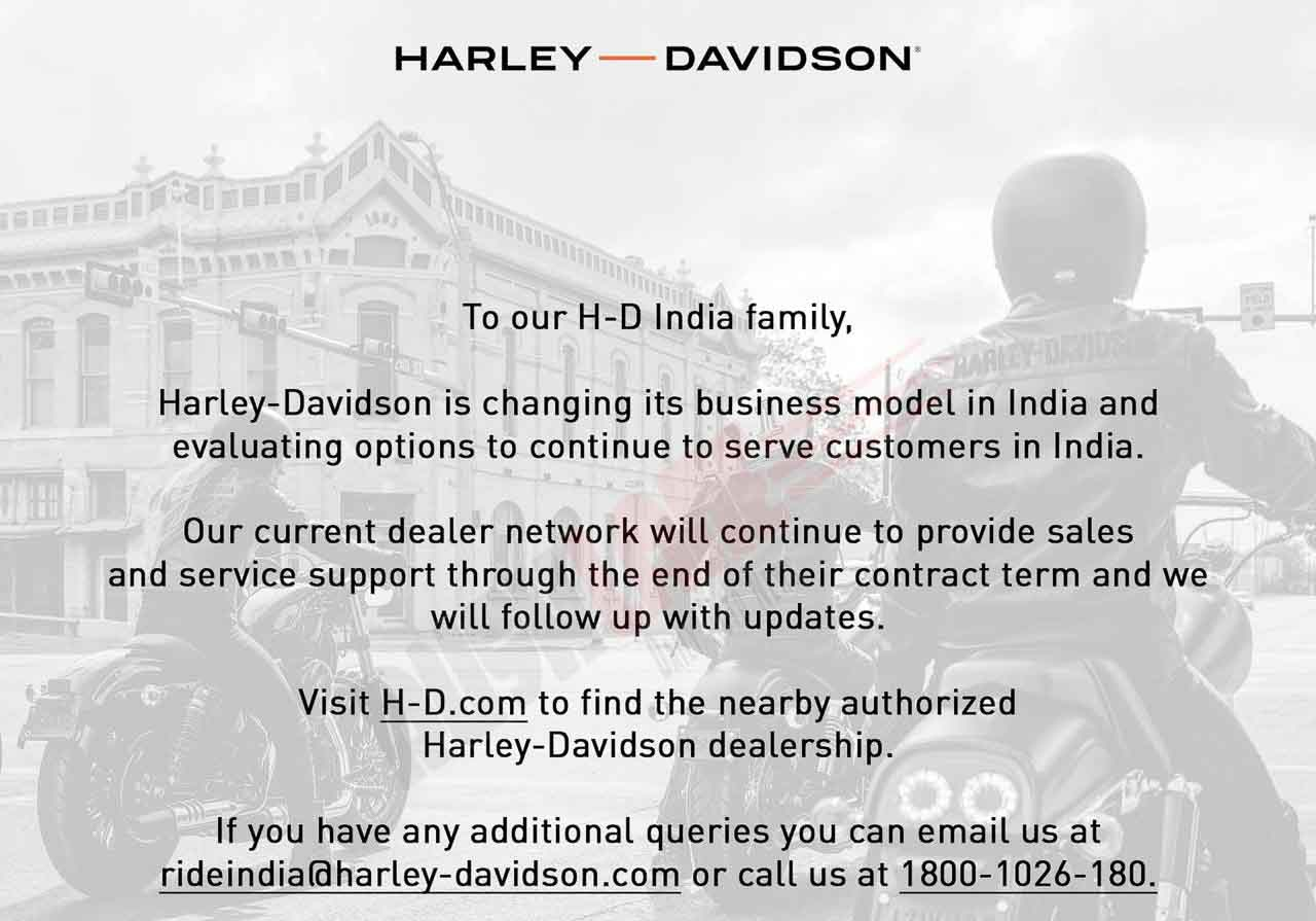 Harley Davidson India Letter to Customers