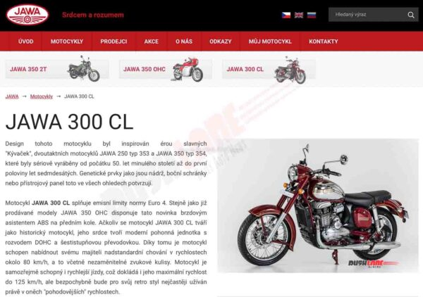 Jawa 300 CL listed on European website