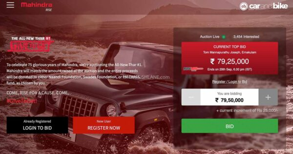 Mahindra Thar Auction