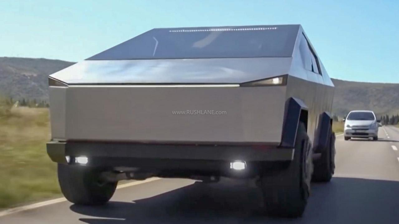 Ford F-150 Raptor modified into a Tesla Cybertruck lookalike
