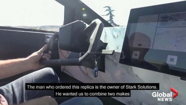 Ford Raptor modified into a Tesla Cybertruck