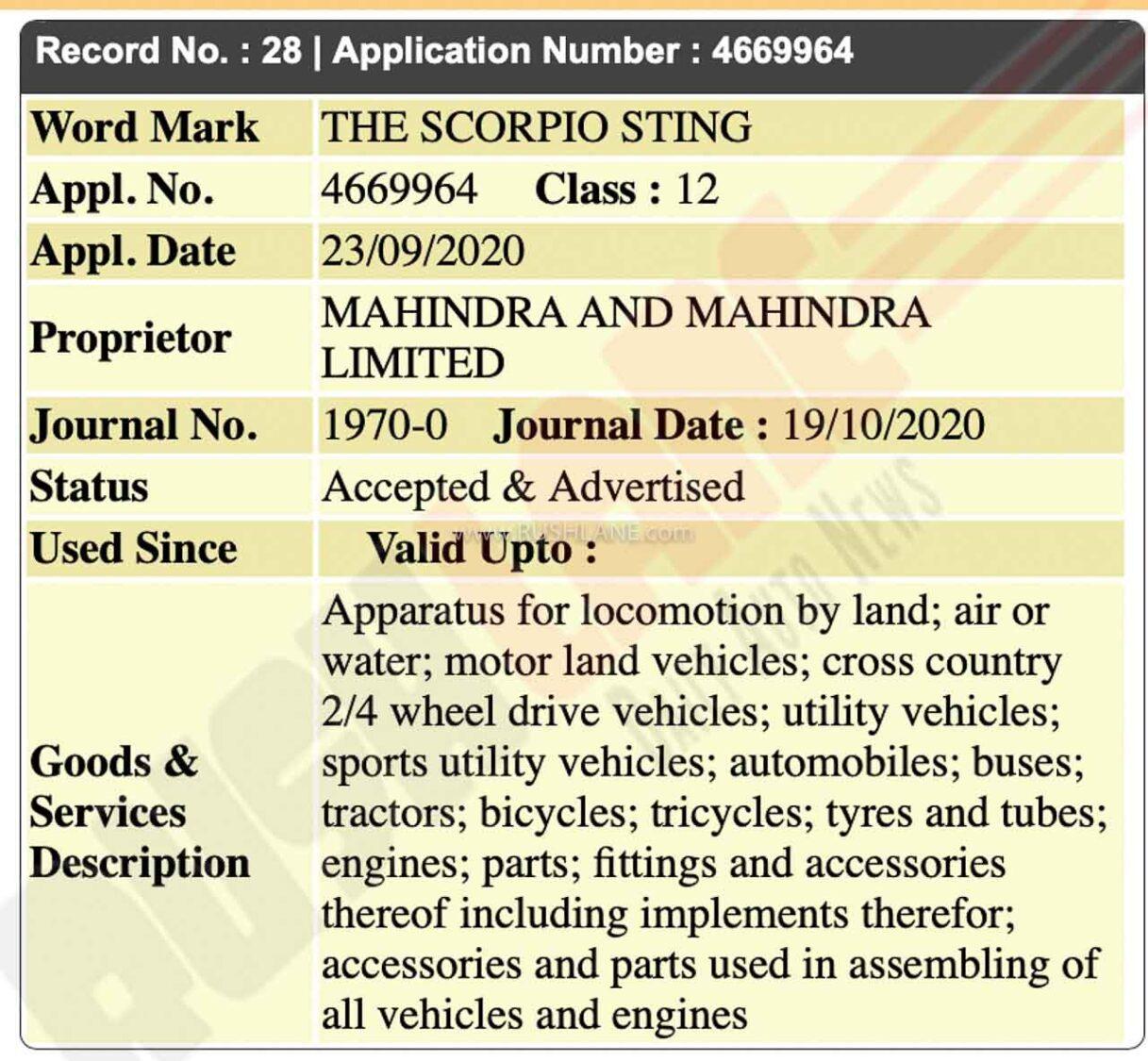 Mahindra Scorpio Sting Registered