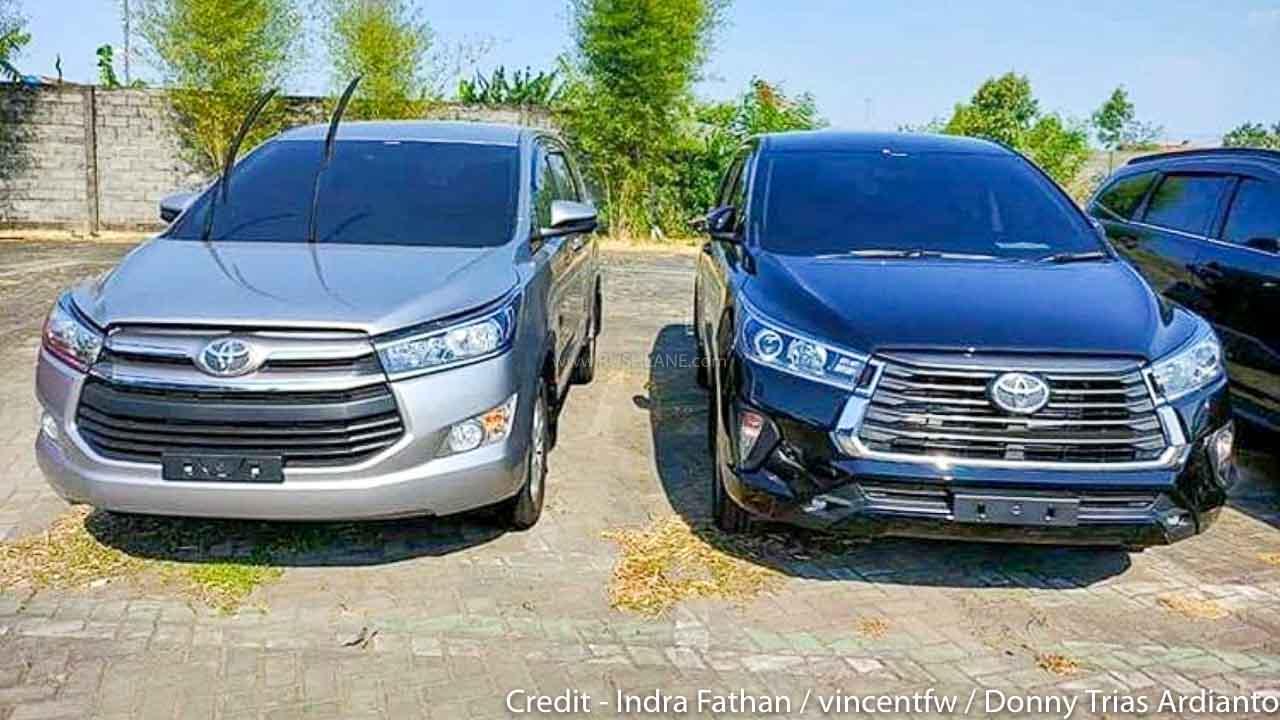 New Toyota Innova Facelift Vs Existing Innova Crysta Spied Together