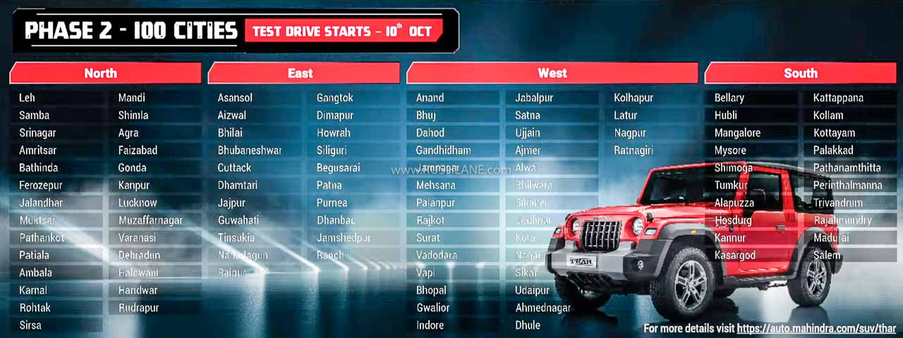 Mahindra Thar Test Drive Phase 2 Cities