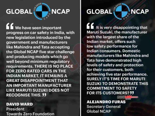 Global NCAP replies to Maruti Statement