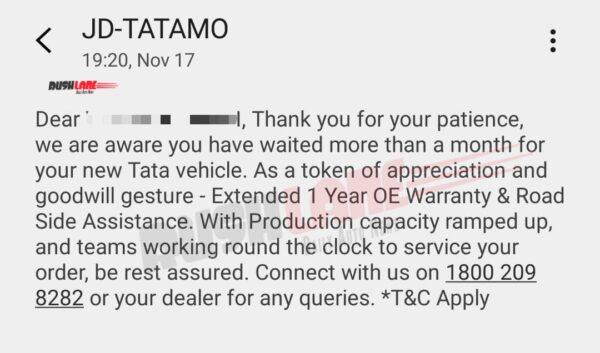 Tata Nexon FREE Extended Warranty RSA