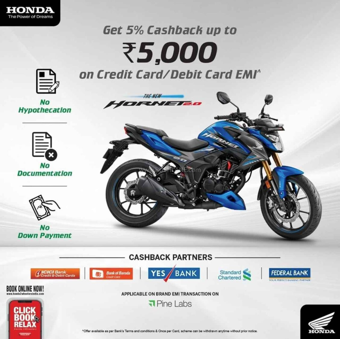 Honda Hornet Cashback Offer