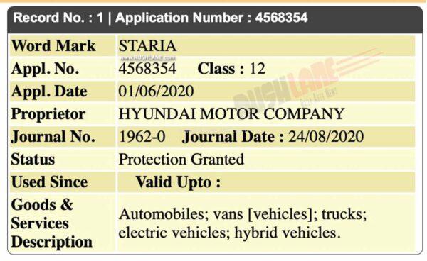 Hyundai Staria MPV Registered in India
