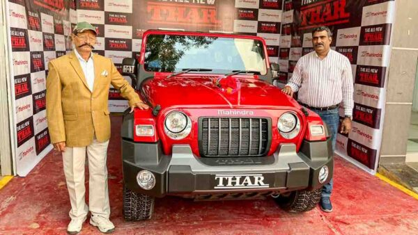 Mahindra Thar owner taking delivery