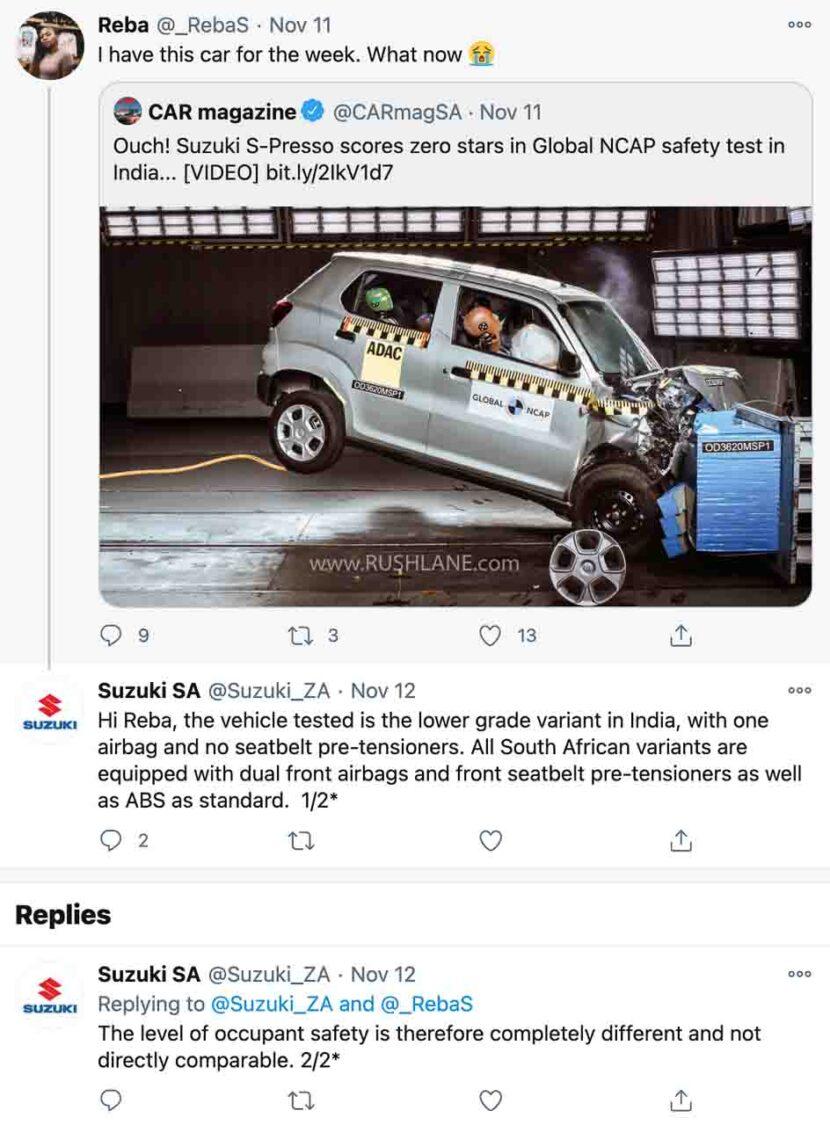 Suzuki South Africa S-presso safety