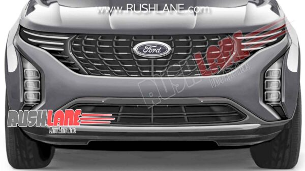 Closer look at the front of Ford's 3 Row, 7 Seater SUV for India - Based on 2021 Mahindra XUV500