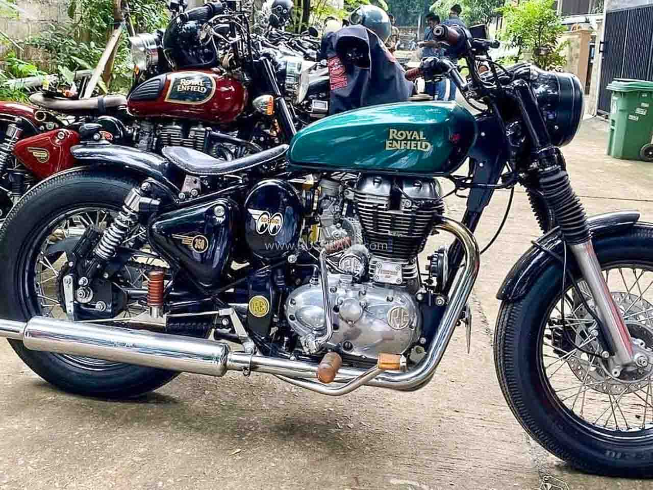 Royal Enfield Classic 350 Bobber Named Green Goblin Modified For Rs 1 5l Inspired By Kx Concept