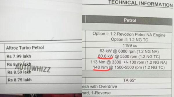 Tata Altroz Turbo DCT Petrol Price, Specs