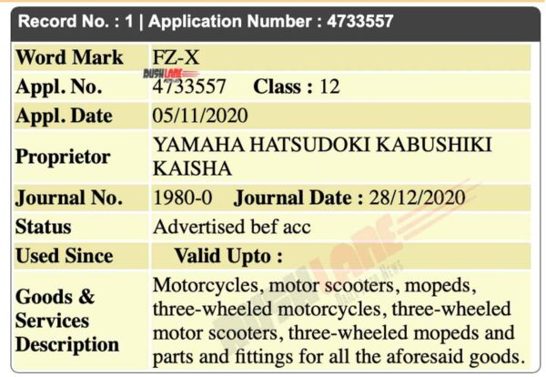 Yamaha FZ-X Name Registered In India