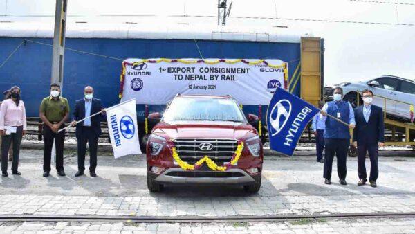New Hyundai Creta being exported to Nepal via train