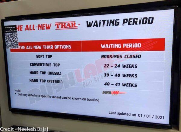 Mahindra Thar Waiting 10 Months