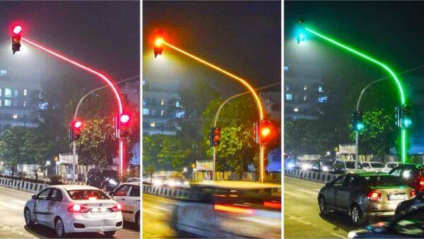 LED Traffic Lights on Poles