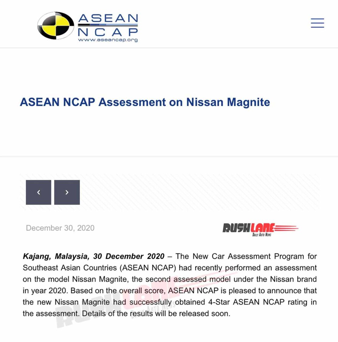 Nissan Magnite Crash Test Safety Rating