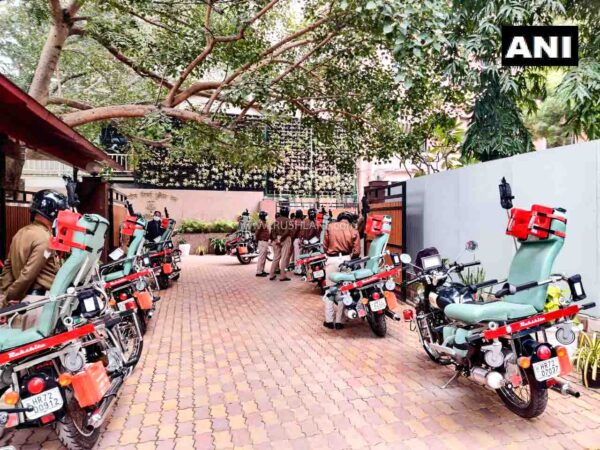 Fleet of Royal Enfield based Rakshita Ambulance