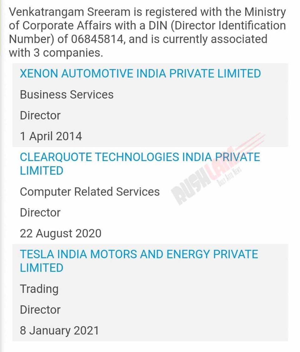 Tesla India Director No 2