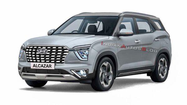 2021 Hyundai Alcazar Silver Render
