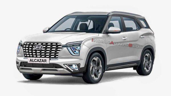 2021 Hyundai Alcazar White Render