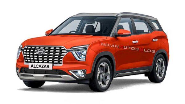 2021 Hyundai Alcazar Orange Render