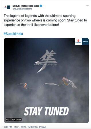 2021 Suzuki Hayabusa India Launch Teaser