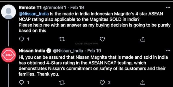 Nissan Magnite safety rating for India