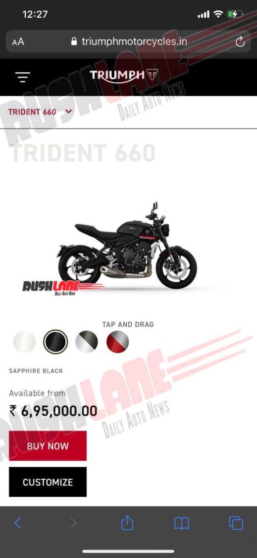 Triumph Trident India Price Leak