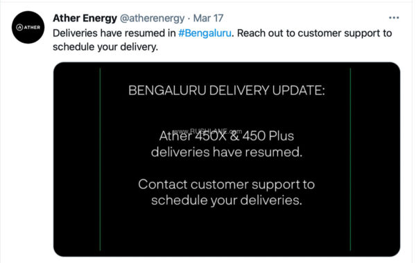 Ather Electric Scooter Deliveries Restart In Bangalore