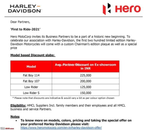 Hero MotoCorp discount offer on Harley Davidson motorcycles