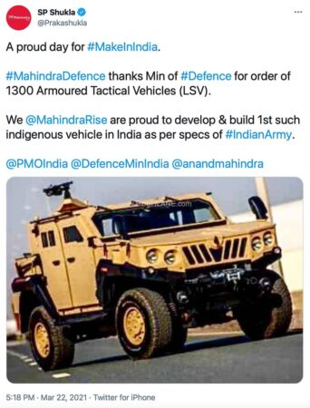 Mahindra Wins Rs 1,056 Cr Govt Order To Supply 1,300 ALSVs For Indian Army