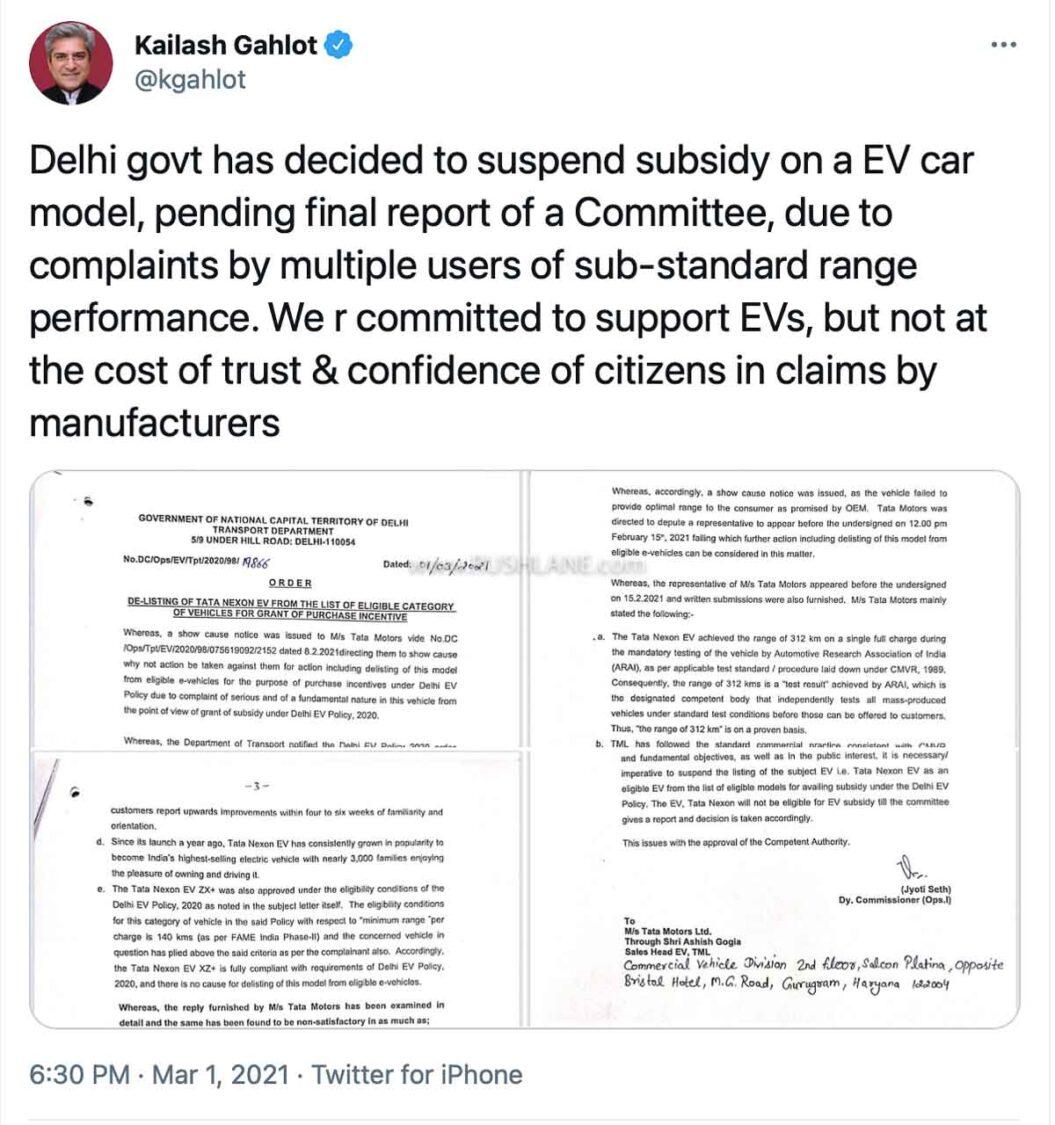 Tata Nexon EV removed from Delhi EV Policy