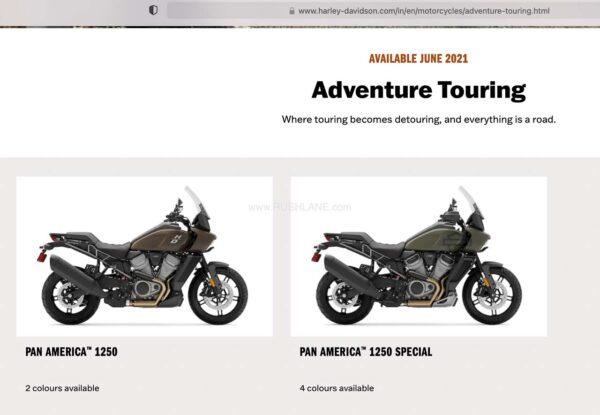 Harley Davidson India website adds Pan America