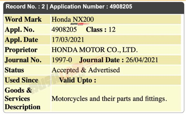 Honda NX200 name registered in India