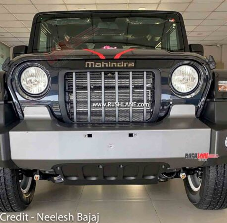 Mahindra Thar with new skid plate arrives at showroom