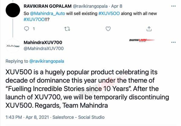 Mahindra XUV500 to discontinue