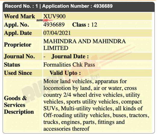Mahindra XUV900 name registered in India