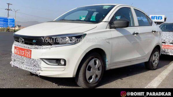 Tata Tigor electric facelift spied