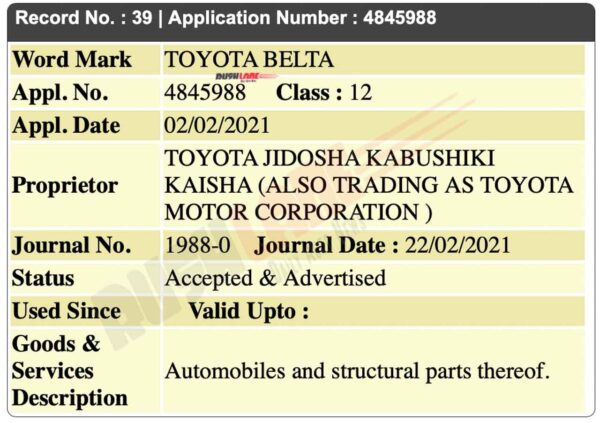 Toyota Belta name registered in India