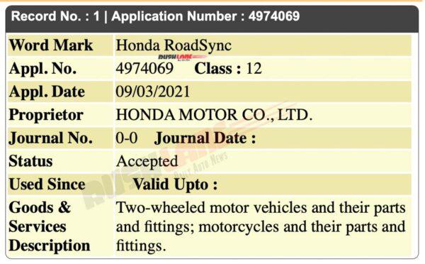 Honda RoadSync Trademark Filed In India