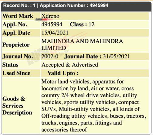 Mahindra Xdreno name registered