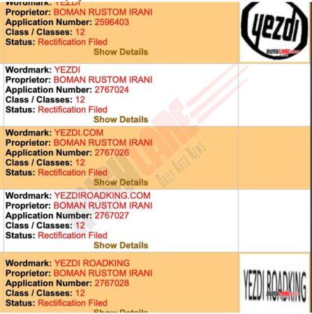 Yezdi Roadking Name Registered