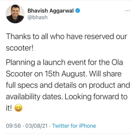 Ola Electric Scooter Launch Date