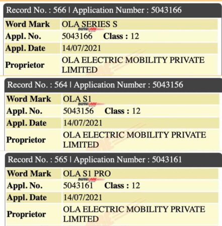Ola Electric Scooter Variants Name Leak Via Trademark Filings
