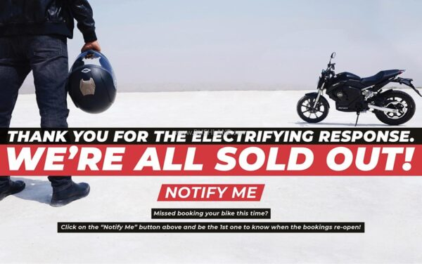 Revolt Electric Motorcycles Sold Out In 10 Minutes