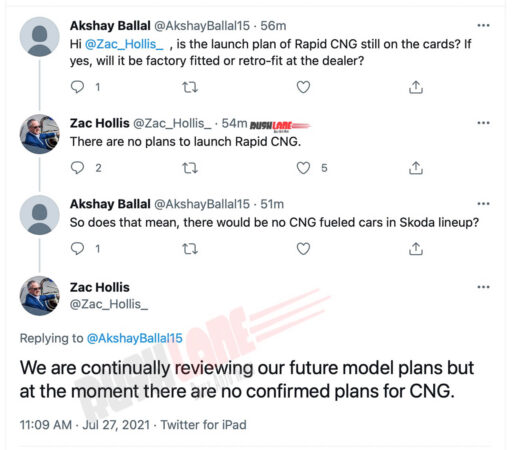 No plans for Skoda Rapid CNG