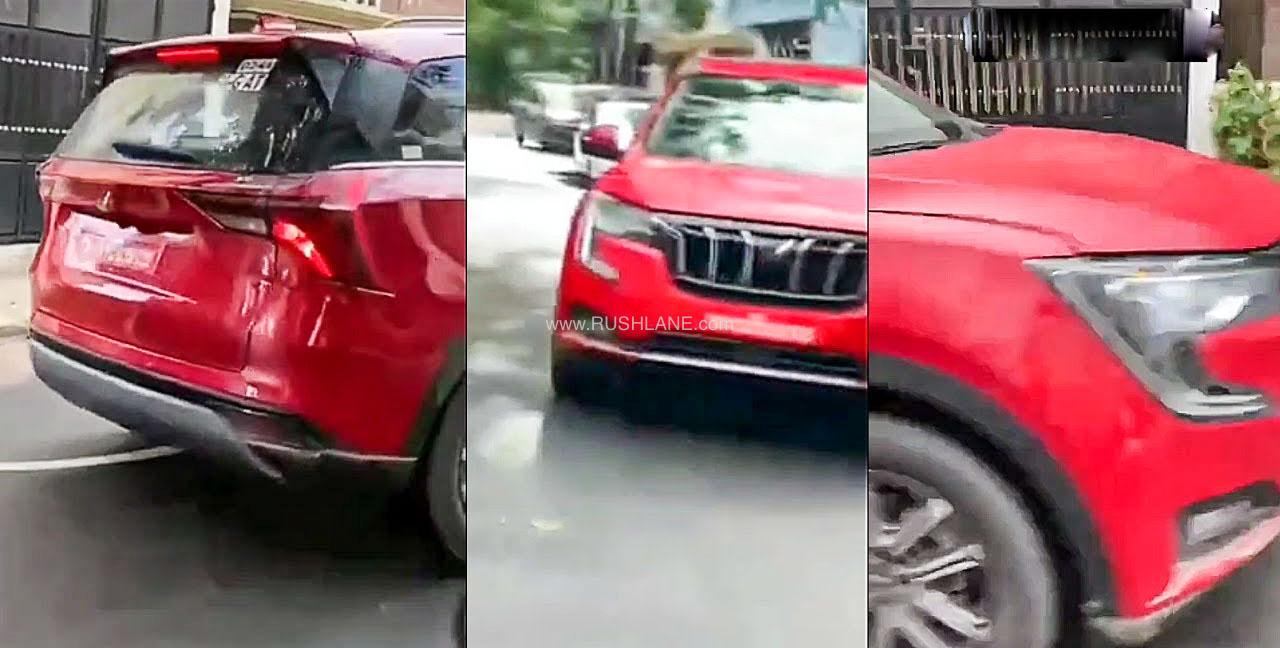 Mahindra XUV700 Red Colour Spied Fully Undisguised On Road - RushLane