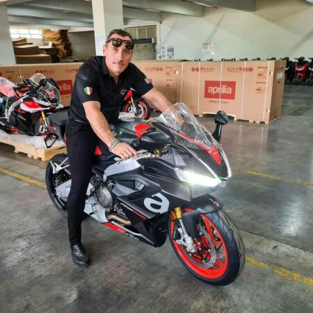 Diego Graffi, Chairman CEO and MD, with Aprilia RS660 at company plant in Baramati, India.